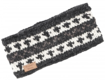 Wool headband - grey/black