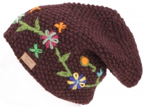 Wool beanie with flower embroidery, Nepal cap - dark wine