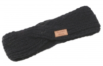 Crossed wool knitted headband, knitted ear warmer - black