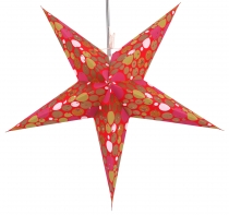Foldable Advent illuminated paper star, Poinsettia 60 cm - Balloo