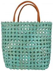 woven basket bag in three sizes - turquoise