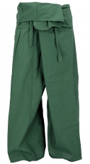 Thai fisherman pants in cotton, wrap pants, yoga pants - M/L oliv..