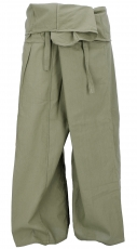 Thai cotton fisherman pants, wrap pants, yoga pants - M/L mud