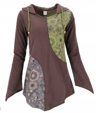 Hoody dress, patchwork Boho tunic - brown