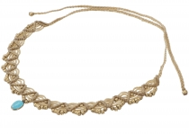 macramé necklace pearl, hippie boho necklace - mustard yellow