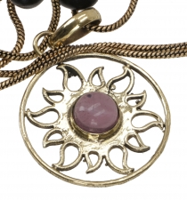 Amulet with chain, sun amulet, tribal chain - Amethyst