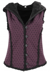 Short Goa vest with wide fluffy hood `Flower of Life` - purple