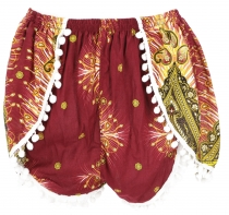 Light pantys, print shorts with bobbles - reddish brown