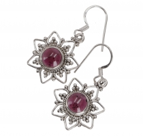 Boho silver earrings Brazilian sun, ethno earrings - Garnet