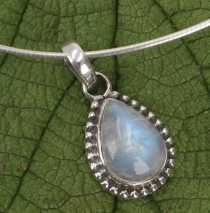 Boho silver pendant, Indian pendant made of silver - moonstone