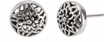 Silver earrings with fine ornamentation, ethnic silver ear studs ..