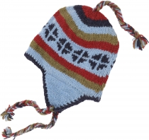 Woolly hat with earflaps, Norwegian hat - blue