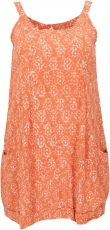 Boho mini dress, summer tunic, little danglers - orange