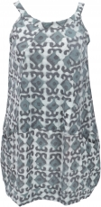 Boho mini dress, summer tunic, hanger - dove grey
