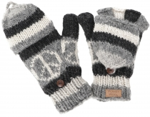 Gloves, hand knitted folding gloves, finger gloves - Model 3