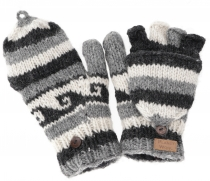 Gloves, hand knitted folding gloves, finger gloves - Model 6