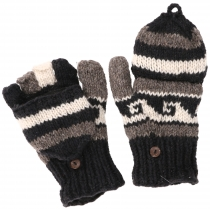 Gloves, hand knitted folding gloves, finger gloves - Model 1