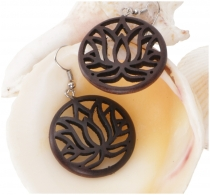 Ethno earrings, Boho wooden earrings - Lotus