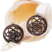 Ethno earrings, Boho wooden earrings - flower of life 1