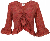 Blouse top Boho chic, silky hippie blouse with long arms - red