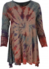 Batik mini dress, long sleeve boho tunic, batik dress - brown