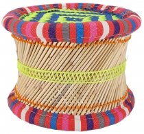 Colourful round reed wicker stool in bright colours - 22 cm