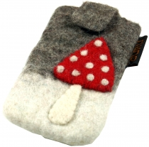 Felt mobile phone bag toadstool