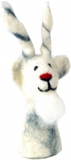 Handmade felt finger puppet - billy goat/white