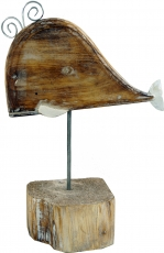 Carved wooden figure Wal, Moby Dick 2, on wooden-metal stand - mo..