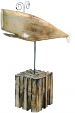 Carved wooden figure Wal, Moby Dick 3, on wooden-metal stand - Mo..