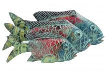 Carved fish, decoration object fish in 3 sizes - colourful