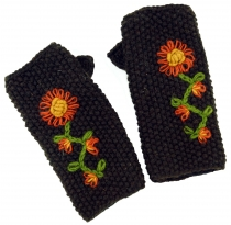 Knitted cuffs, wool cuffs with embroidery, ethnic cuffs - coffee
