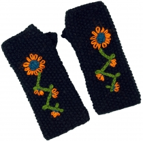 Knitted hand gauntlets, wool gauntlets with embroidery, ethnic ga..