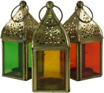 Glass lantern, lantern, brass tealight holder in 6 colours