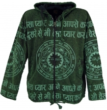 Goa jacket, ethno hoody with mantra print - green