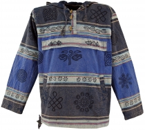 Goa hooded shirt, Baja Hoody Nepalhoodie - blue