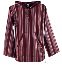 Goa hooded shirt, striped Baja Hoody - bordeaux