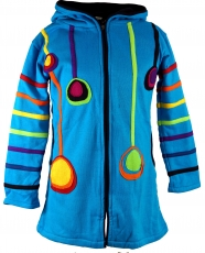 Goa children`s jacket with pointed hood, elfin jacket - turquoise