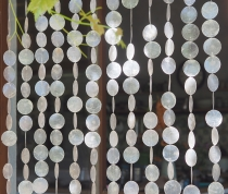 Exotic shell curtain from Capiz, wind chime, room divider, door c..