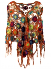 Crochet Stole, Hippie flower crochet scarf - rust-orange