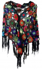 Crochet Stole, Hippie flower crochet scarf - black