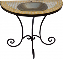 Semicircular mosaic washbasin with small brass basin and rustic m..