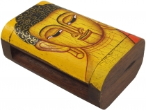 Handpainted wooden box/casket with Buddha motif - yellow