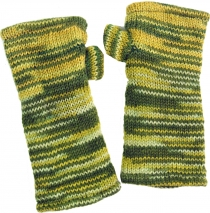 Hand cuffs, hand-knitted wool cuffs from Nepal, mottled arm warme..