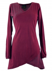 Hippie mini dress Boho chic, Tunic - bordeaux