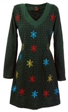 Hippie mini dress Boho chic, tunic - dark green