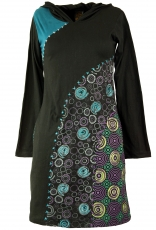 Hippie mini dress Boho chic, tunic - black