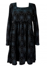 Hippie mini dress Boho chic, tunic - black/blue
