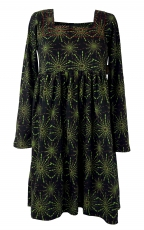 Hippie mini dress Boho chic, tunic - black/green