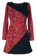 Hippie mini dress Boho chic, tunic - black/red